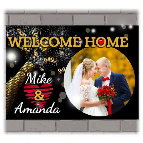 Personalised Welcome Home Wedding Hearts PHOTO Poster Banner N213